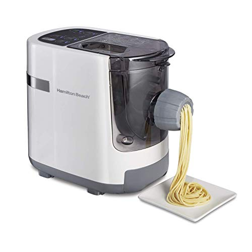 Hamilton Beach Electric Pasta and Noodle Maker, Automatic, 7 Different Shapes, White (86650) (Renewed)