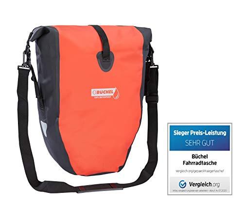 Büchel Fahrradtasche für Gepäckträger, 100% wasserdicht, schwarz/rot, 81518002