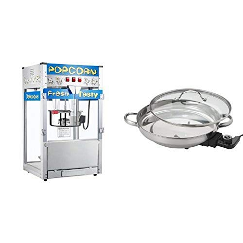 Great Northern Popcorn 6210 POPHEAVEN Commercial Quality Style Popcorn Popper Machine with 12-Ounce Kettle and Aroma Housewares AFP-1600S Gourmet Series Stainless Steel Electric Skillet Bundle