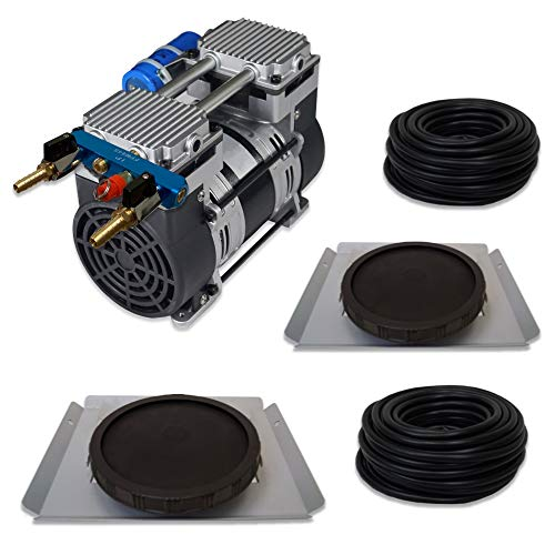 HALF OFF PONDS Pro Deep Water Subsurface Air & Aeration System for Ponds with (1) 6.7 CFM Air Compressor and (2) Single-10 EPDM Rubber Diffuser Discs on Weighted Steel Frames