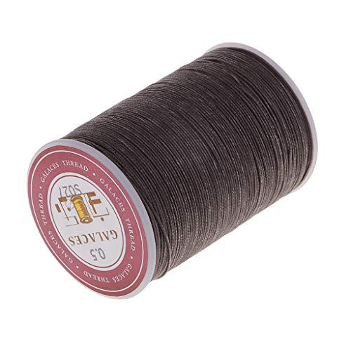 IPOTCH 130 Metros 0.5mm Hilos de Bordado Cuerda Trenzada Cordón de Poliéster Hebra Costura Artesanías DIY - Café