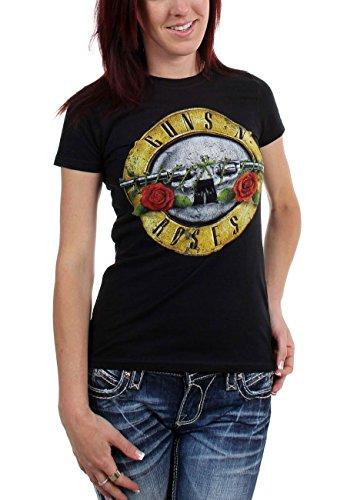 Guns n Roses Women's Distressed Bullet T-Shirt, S, L