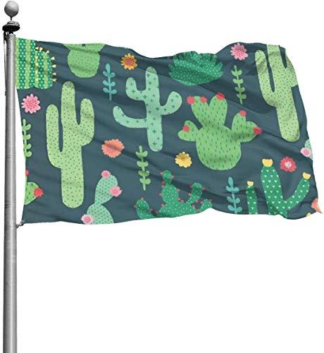 N/A Groene Cactus Rood Bloem Gele Tuin Duurzame Tuin Vlaggen Seizoensgebonden Thuis Decoratief voor Binnen & Buiten (4x6 Ft)