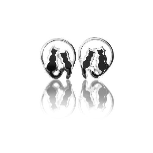 Pure Origins - Orecchini a lobo a forma di due gatti sulla luna, in argento Sterling 925 con dettagli in smalto nero