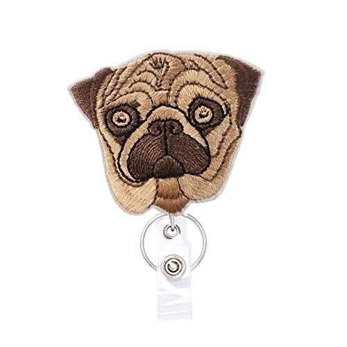 French Bulldog Dog Puppy Badge Reels Retractable, with Alligator Clip and Key Ring, 24 inches Thick Pull Cord Gift for Dog Lover