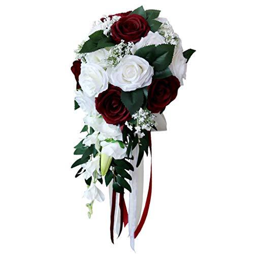 Harilla Realistico Matrimonio Bouquet Da Sposa Decorazione Floreale Legata a Mano Forniture per Feste - Bianco + Vino Rosso - Bianco + vino rosso