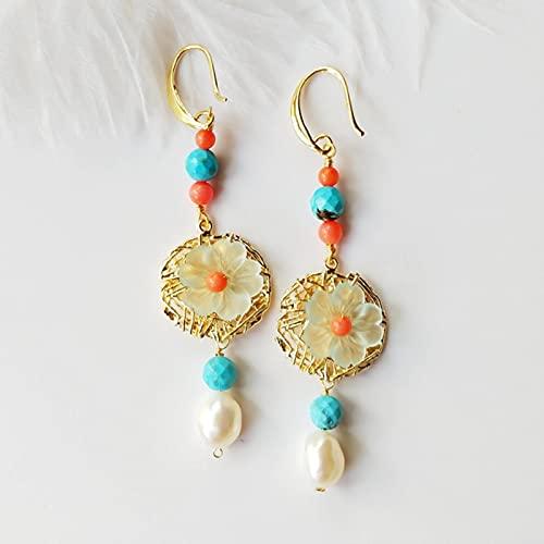 SALAN Pendientes Colgantes Bohemios con Perlas Turquesas Barrocas Naturales, Joyería para Mujer, Pendientes Llamativos con Dijes De Perlas