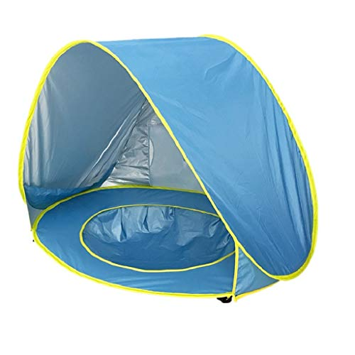 Lazapa Beach Tent for Baby - Beach Shade Sun Protection with UPF 50 + Beach for Camping Hiking with Large Volume (A, Blue)