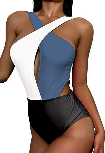 Women's Sexy Color Block Bathing Suits Criss Cross Tie Knot Front One Piece Swimwear Black