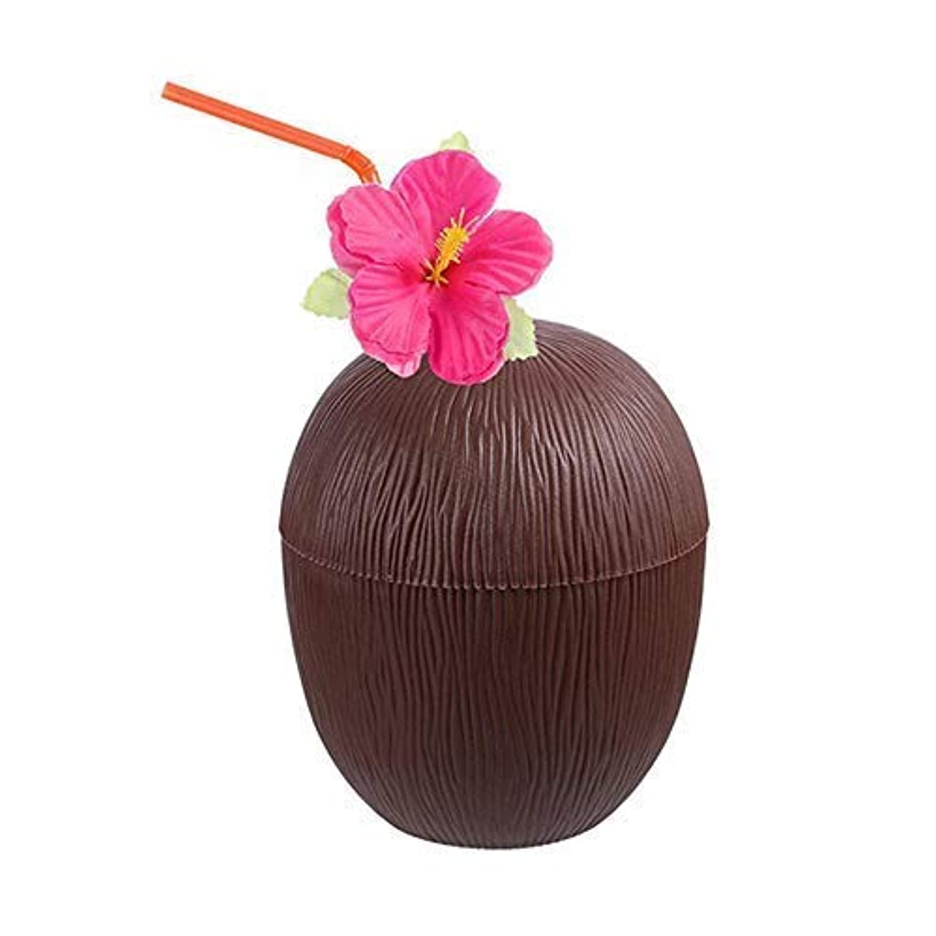 Womdee Hawaiian Coconut Cup, 1 Pieces with Flower Straws, Beach Theme Party Supplies Summer Activities Children's Adult Party Birthday Party Fun Drink Cup