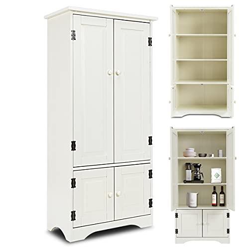RELAX4LIFE Midischrank aus Holz, Beistellschrank, Hochschrank, Mehrzweckschrank, ideal für Badezimmer, Wohnzimmer und Schlafzimmer, Küchenkommode 2 einstellbare Ablagen, 59 x 32 x 123 cm (Cremeweiß)