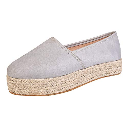 Zapatos de Vestir Mujer Verano Plataforma Tacon Medio PAOLIAN Zapatos de Loafer Mujer Otoño Elegantes Zapatillas Casual Alpargatas Zapatos de Esparto Alpargatas Mujer