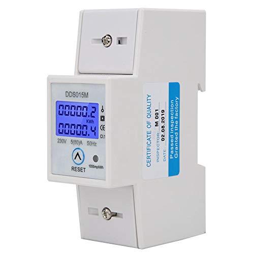 DDS015M Misuratore di Potenza Elettrica monofase, Misuratore di Energia Watt/ora Misuratore Digitale KWH DIN Guida, Display Misuratore di Energia con Retroilluminazione a 230 V Ripristinabile