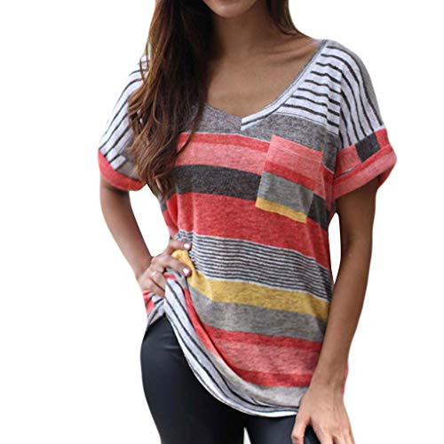 Camiseta de verano para mujer, a rayas, manga corta, tops de gran tamaño, ocio, elegante, cuello en V, ligera, cómoda, básica, camiseta, túnica Rosa. XXXXXL