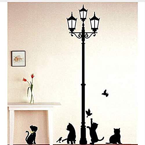 Popular Lámpara Antigua Gatos Y Pájaros Pegatinas De Pared Murales Murales Decoración Familiar Habitación Niños Calcomanía Papel Tapiz 60X33Cm