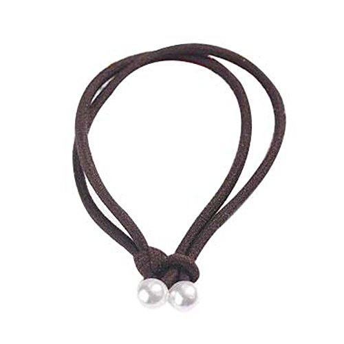Paquet de 10 belles cordes cheveux filles Porte-queue de cheval cravate Cheveux bruns Elastique