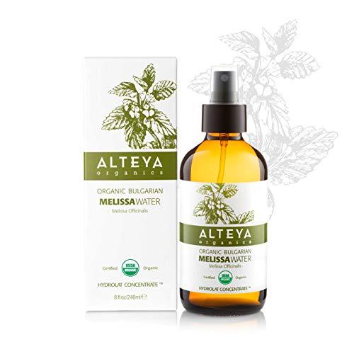 Alteya Organic Pulvérisateur d'eau de mélisse 240 ml Bioglass - Certifié organique par USDA Pure Bio Eau Naturelle Florale Distillé - Clarifiante, Harmonisante, Tonifiante et Hydratante