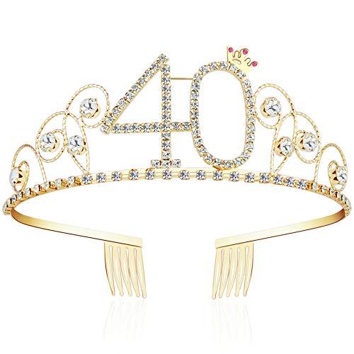 ArtiDeco Kristall Geburtstag Tiara Gold Birthday Crown Prinzessin Kronen Haar-Zusätze Gold Diamante Glücklicher 16/18/20/21/30/40/50/60/70/80/90/100 Geburtstag (40 Jahre alt)