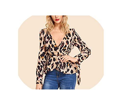 Surplice Damen-Bluse, V-Ausschnitt, Knoten-Manschette, Leopardenmuster, Vintage-Stil, langärmelig, Größe M