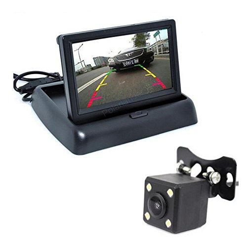 GOFORJUMP Aide au stationnement Automatique Nouvelle caméra de Vision arrière de la Voiture CCD de Vision Nocturne de LED avec la caméra de Moniteur Pliable de vidéo de la Couleur LCD de 4,3 Pouces