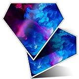 2 pegatinas de diamante de 7,5 cm, color rosa azul humo arte Vape tinta divertida calcomanías para ordenadores portátiles, tabletas, equipaje, chatarra de reservas, neveras, regalo fresco #14299