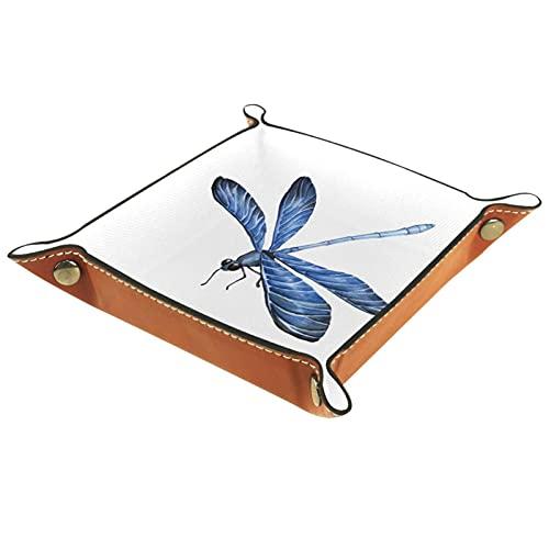 Organizador de almacenamiento de escritorio de libélula azul para monedero clave de la joyería del teléfono