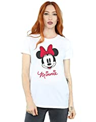 Disney mujer Minnie Mouse Face Camiseta Del Novio Fit