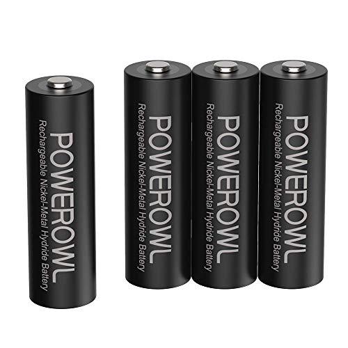 POWEROWL Pilas AA Recargable Alta Capacidad 2800mAh 1.2V Pilas Recargables AA NI-MH Diámetro 14.4mm Baja Autodescarga (4 Piezas)