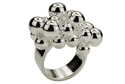SILBERMOOS Damen Ring Designring mit beweglichen Kugeln Kugelring opulent extravagant 925 Sterling Silber, Größe:56 (17.8)