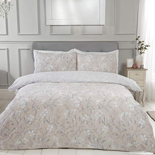 Sleepdown Etched Floral Natural Reversible Easy Care Duvet Cover Quilt...