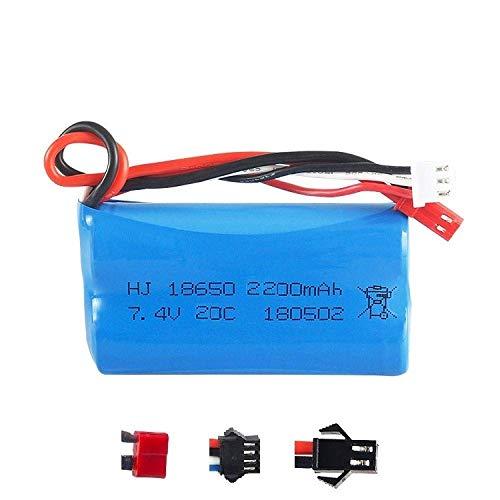 GzxLaY Batería de Respaldo de Alto Rendimiento 7.4v 2200mah Batería de Iones de Litio 20c 18650 / Cargador USB SM / JST / T / EL-2P para RC Helicopter RC Car 7.4 V 2200MAH-Blue ( Color : Red )