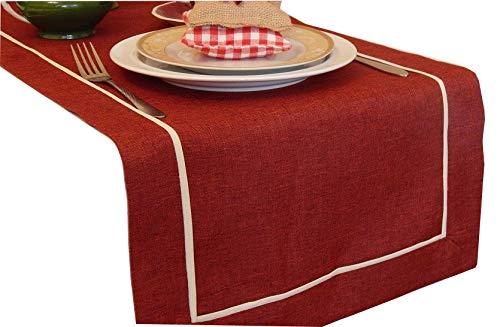 FK-Lampen - Runner da tavolo, decorazione, effetto lino, colore e misura a scelta, bellissimo design, Poliestere, rosso vivo, 40 x 160 cm