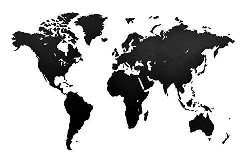 MiMi Innovations - Lussuosa Decorazione da Parete in Legno con Mappa del Mondo 130 x 78 cm - Nero