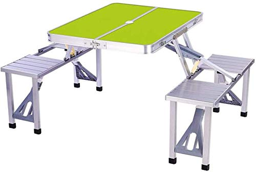 LQ Mesas sillas de Aluminio Camping al Aire Libre de Picnic Plegable portátil Maleta taburetes con Orificio de Parasol (Size : Green)