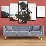 ARIE Leinwanddrucke 5 Stück Leinwand Bilder Wanddeko Wand Soldat Mit Amerikanischer Flagge Hd Poster Kunstwerke Malerei Weihnachten Kreative Geschenke