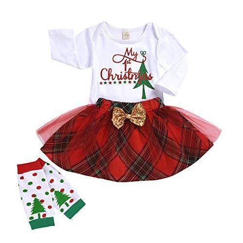 Bébé Fille Noël Costume T-Shirt +Tutu+Chaussette(0-24mois),BZLine Bambin Ensemble Trois Pièces Coton Hauts et Jupe à Carreaux My First Christmas