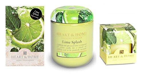 Lot de 3?Lime Splash Parfum Collection 1?bougie en pot 1?bougie d?corative 1?Sachet parfum?