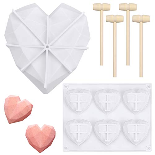 2-Packs-Heart-Molds-for-Chocolate-with-4-Packs-Wooden-Hammers-Diamond-Heart-Silicone-Cake-Mold-for-Chocolate-Mousse-Dessert-Baking-Pan