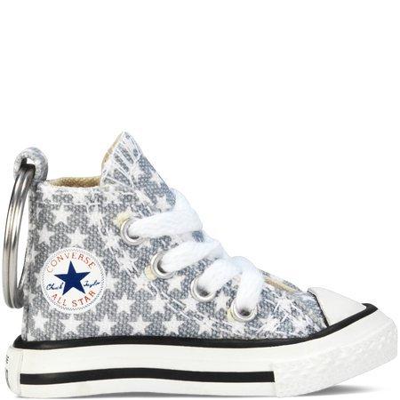 Llavero Converse All Star Chuck Taylor Sneaker llavero auténtico, Gris (Gris claro/estrellas blancas), Talla única