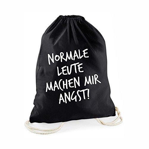 Statement-Turnbeutel Normale Leute Machen Mir Angst! - Gym-Bag Rucksack Hipster Beutel mit Spruch Tasche Jutebeutel Gymsac Sportbeutel