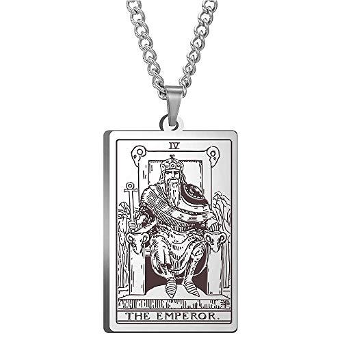 Tarot Jewelry, Colgante de Collar de Tarot, Colgante de Collar de Acero de Titanio, Collar de Amuleto mágico de adivinación astrológica, Tarjeta Principal, Rey
