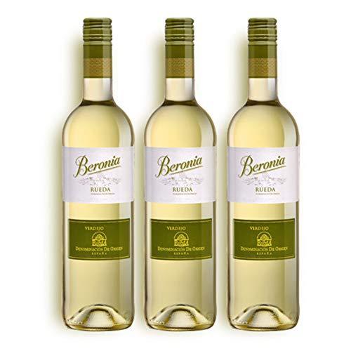 Verdejo Beronia Rueda- Vino blanco de 75 cl - D.O. Rueda - Bodegas Gonzalez Byass (Pack de 3 botellas)