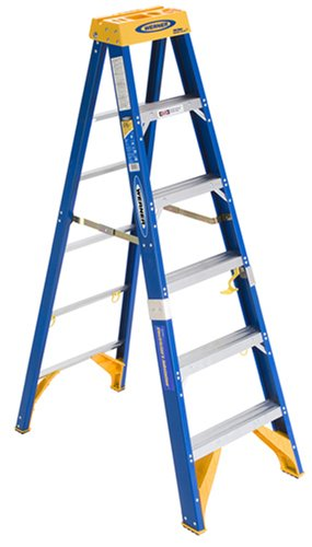 Werner OBEL06 Old Blue Electricians 375-Pound Duty Rating Fiberglass Stepladder/Job Station, 6-Foot