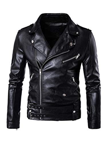 PASOK Men's PU Leather Jacket Causal Belted Faux Leather Motorcycle Jacket Zipper Biker Coat Black XL
