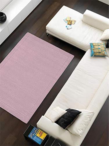 Benuta Wollteppich Uni Rosa 120x170 cm | Naturfaserteppich für Wohnzimmer und Schlafzimmer