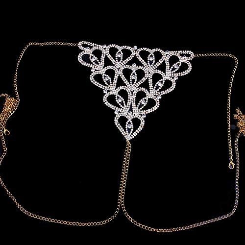 YURU Sexy Tanga Unterwäsche , Strass Einfache Taille Ketten , Für Frauen Bikini Kristall Körperkette Schmuck Geschenk,Gold