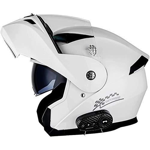 Casco De Moto Modular Bluetooth Integrado, Casco Integral Para Motocicleta Abatible Con Doble Visera Anti Niebla HD Y Altavoz Incorporado Para Hombres Mujeres DOT ECE,57-64 Cm E,M