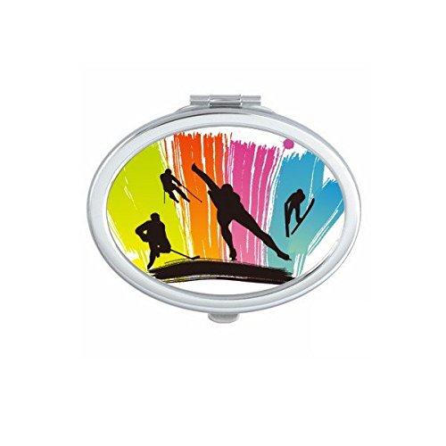 DIYthinker Sports d'hiver Ski Skis Graffiti Illustration Maquillage Ovale Miroir de Poche Compact Portable Mignon Petit Miroirs Main