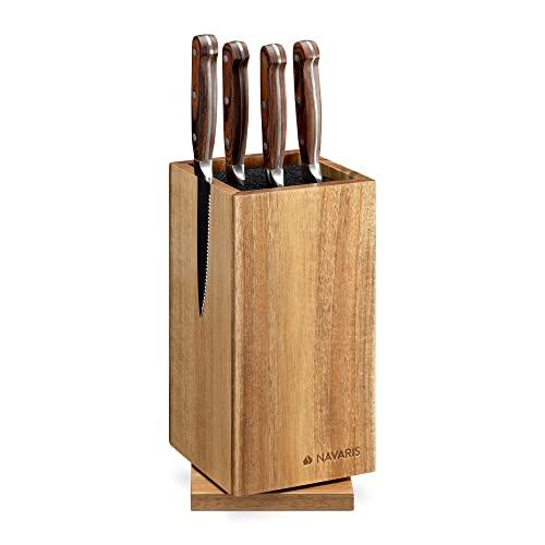 Navaris Bloque para Cuchillos de Cocina - Soporte cuchillero Giratorio de Madera Acacia con Lateral magnético Porta Utensilios - Tacoma Organizador
