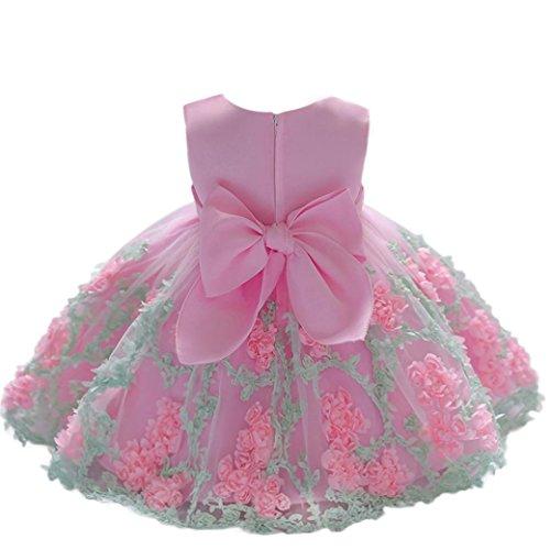 K-youth Vestido Niña Vestido de Encaje Sin Mangas Tutú Princesa Vestido Bebé Niña Verano Ropa Niña Vestido Bebe Niña Bautizo Boda Flores Fiesta Ceremonia Vestido de Princesa (Rosa, 12-18 Meses)